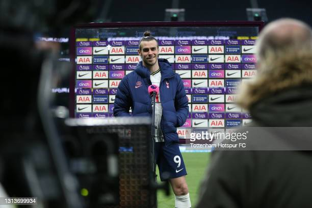 Gareth Bale of Tottenham Hotspur looks on during a post match interview following the Premier League match between Tottenham Hotspur and Southampton...