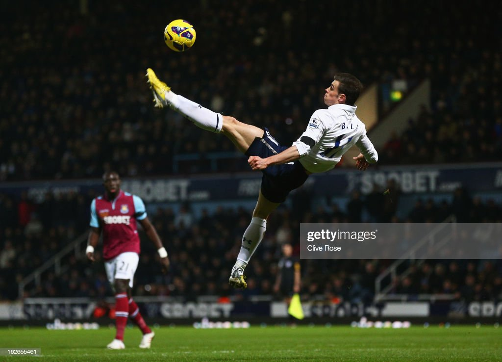 Gareth Bale of Tottenham Hotspur performs an overhead kick during the Barclays Premier League match between West Ham United and Tottenham Hotspur at the Boleyn Ground on February 25, 2013 in London, England.