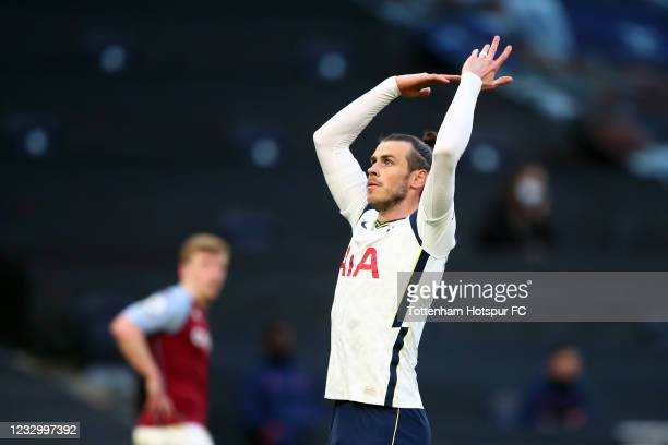 Gareth Bale of Tottenham Hotspur reacts during the Premier League match between Tottenham Hotspur and Aston Villa at Tottenham Hotspur Stadium on May...