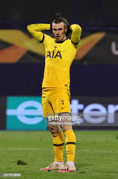 Gareth Bale of Tottenham Hotspur reacts during the UEFA Europa League Round of 16 Second Leg match between Dinamo Zagreb and Tottenham Hotspur at...