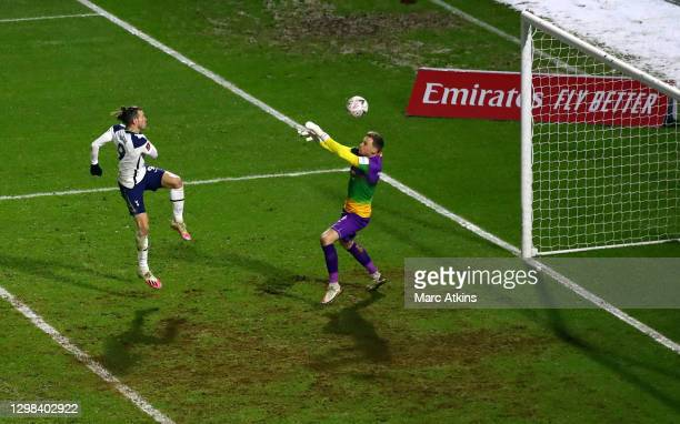 Gareth Bale of Tottenham Hotspur scores his sides first goal during The Emirates FA Cup Fourth Round match between Wycombe Wanderers and Tottenham...