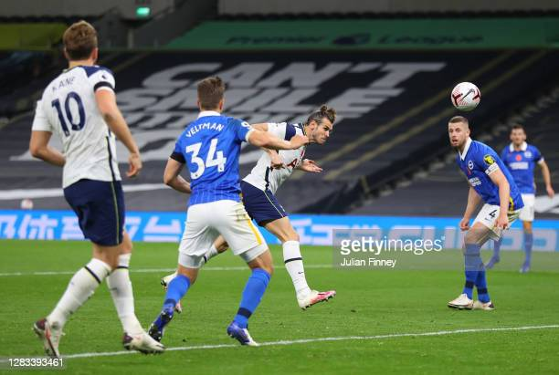 Gareth Bale of Tottenham Hotspur scores his sides second goal during the Premier League match between Tottenham Hotspur and Brighton & Hove Albion at...