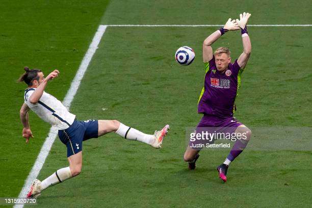 Gareth Bale of Tottenham Hotspur scores the first Tottenham goal past Aaron Ramsdale of Sheffield United during the Premier League match between...