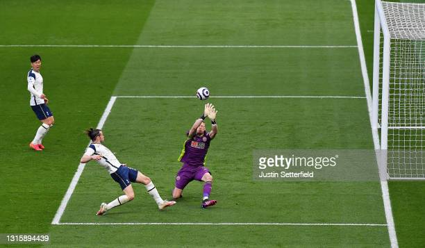 Gareth Bale of Tottenham Hotspur scores their team's first goal past Aaron Ramsdale of Sheffield United during the Premier League match between...