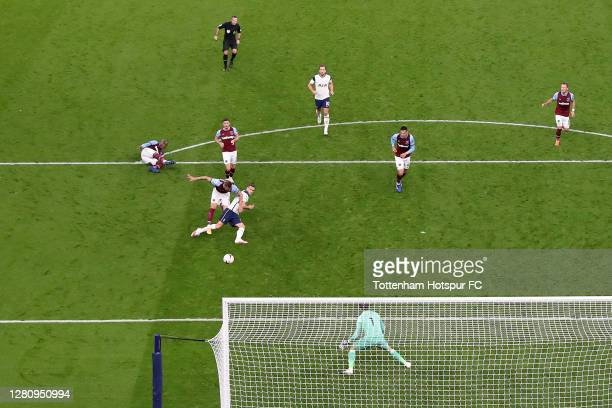 Gareth Bale of Tottenham Hotspur shoots but misses a goal opportunity during the Premier League match between Tottenham Hotspur and West Ham United...