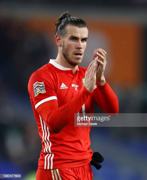 Gareth Bale of Wales acknowledges the fans after the UEFA Nations League Group B match between Wales and Denmark at Cardiff City Stadium on November...