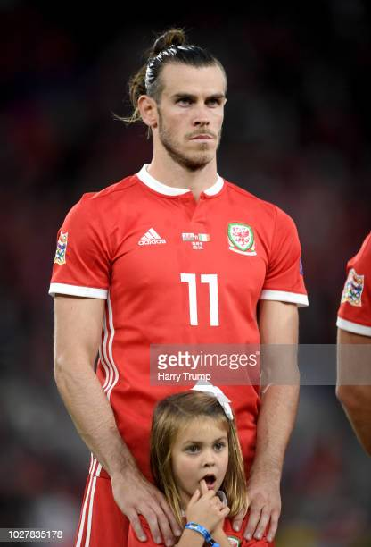 Gareth Bale of Wales and his daughter Nava Bale as the teams line up prior to the UEFA Nations League B group four match between Wales and Republic...