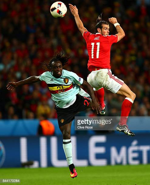 Gareth Bale of Wales and Jordan Lukaku of Belgium compete for the ball during the UEFA EURO 2016 quarter final match between Wales and Belgium at...
