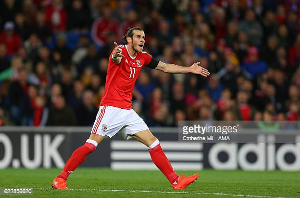 Gareth Bale of Wales appeals during the FIFA 2018 World Cup Qualifier between Wales and Serbia at Cardiff City Stadium on November 12 2016 in Cardiff...