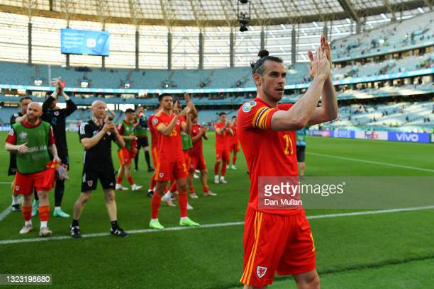 Gareth Bale of Wales applauds the fans after the UEFA Euro 2020 Championship Group A match between Wales and Switzerland at the Baku Olympic Stadium...
