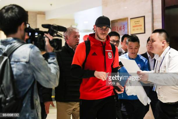 Gareth Bale of Wales arrives at airport ahead of the 2018 China Cup International Football Championship on March 20 2018 in Nanning China