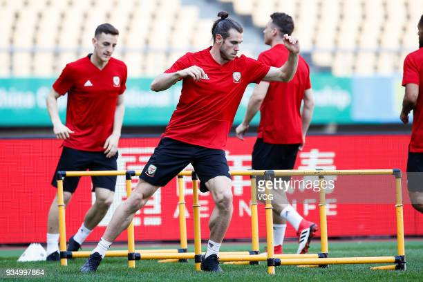 Gareth Bale of Wales attends a training session ahead of the 2018 China Cup International Football Championship on March 20 2018 in Nanning China