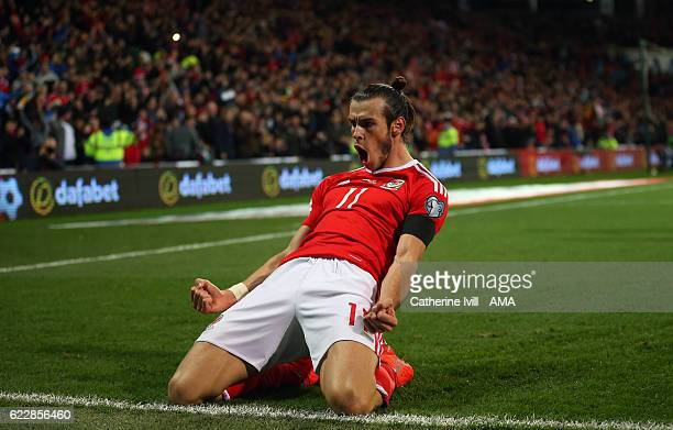 Gareth Bale of Wales celebrates after he scores to make it 10 during the FIFA 2018 World Cup Qualifier between Wales and Serbia at Cardiff City...