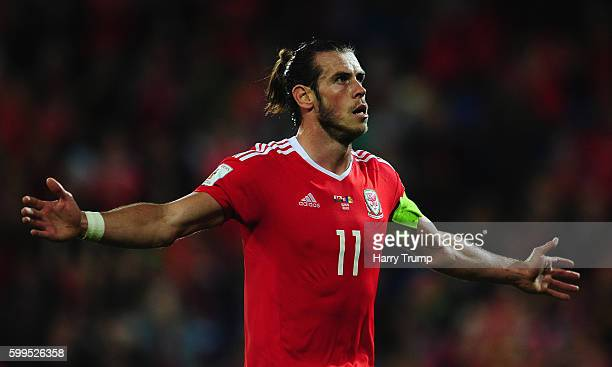 Gareth Bale of Wales celebrates after scoring his sides fourth goal during the 2018 FIFA World Cup Qualifier between Wales and Moldova at the Cardiff...