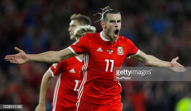 Gareth Bale of Wales celebrates after scoring his sides second goal in the 18th minute during UEFA Nations League between Wales and Republic Ireland...