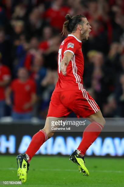 Gareth Bale of Wales celebrates after scoring his team's second goal during the UEFA Nations League B group four match between Wales and Republic of...