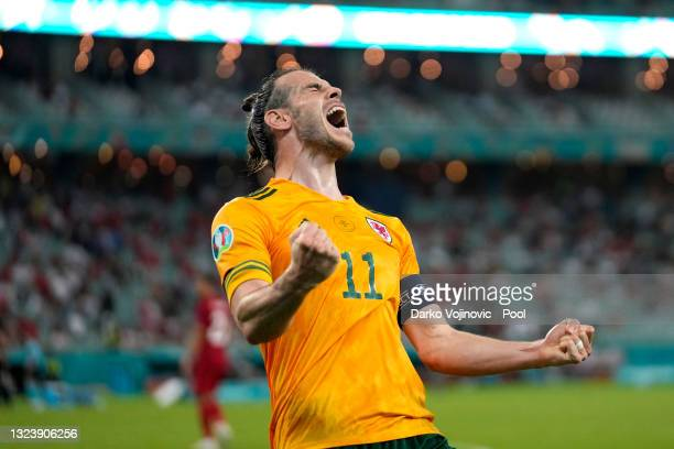 Gareth Bale of Wales celebrates after their side's second goal scored by Connor Roberts during the UEFA Euro 2020 Championship Group A match between...