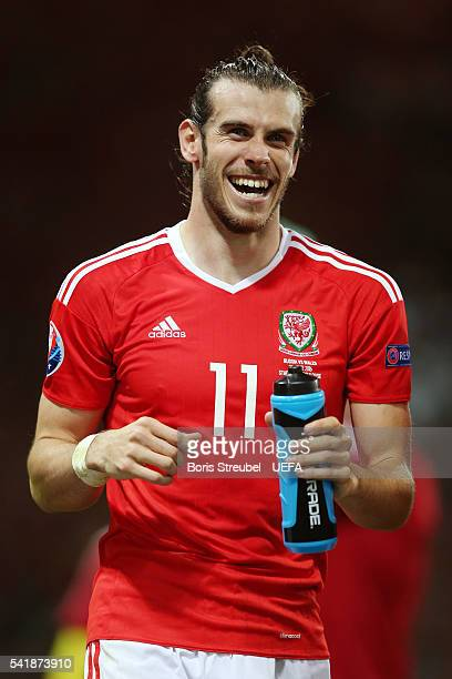 Gareth Bale of Wales celebrates his team's 30 win in the UEFA EURO 2016 Group B match between Russia and Wales at Stadium Municipal on June 20 2016...