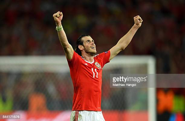Gareth Bale of Wales celebrates his team's 31 win after the UEFA EURO 2016 quarter final match between Wales and Belgium at Stade PierreMauroy on...