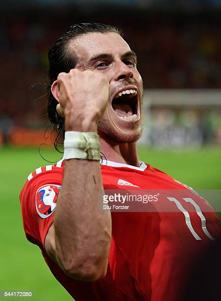 Gareth Bale of Wales celebrates his team's 3-1 win after the UEFA EURO 2016 quarter final match between Wales and Belgium at Stade Pierre-Mauroy on...