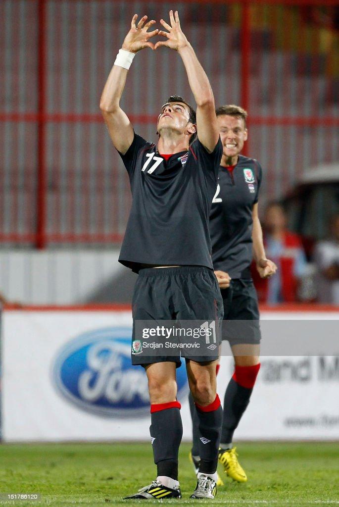 Gareth Bale of Wales celebrates scoring a goal during the FIFA 2014 World Cup Qualifier at stadium Karadjordje Park between Serbia and Wales on September 11, 2012 in Novi Sad, Serbia