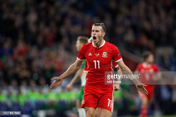 Gareth Bale of Wales celebrates scoring his side's second goal during the UEFA Nations League B group four match between Wales and Ireland at Cardiff...