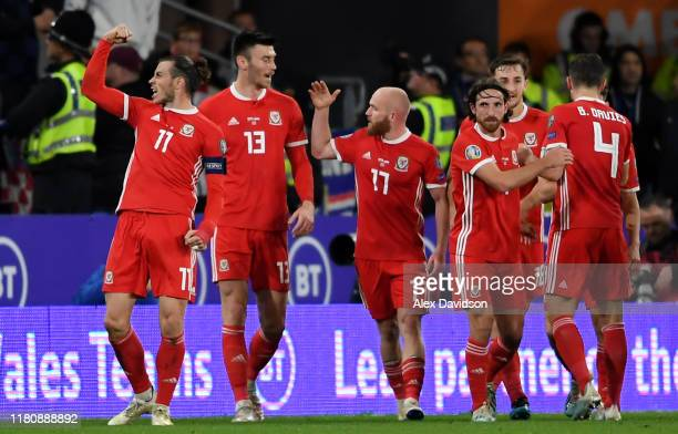 Gareth Bale of Wales celebrates scoring his teams first goal with his teammates during the UEFA Euro 2020 qualifier between Wales and Croatia at...
