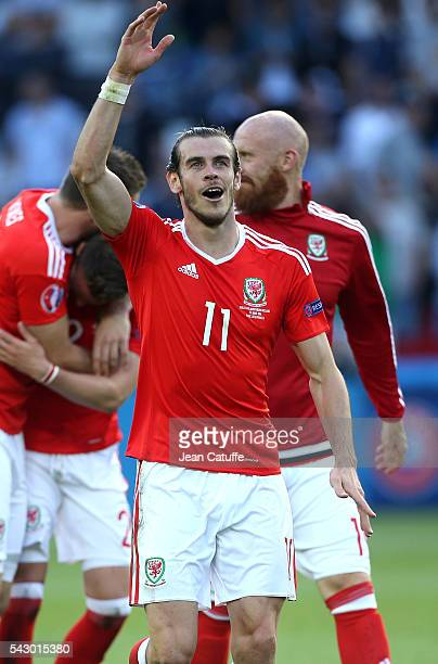 Gareth Bale of Wales celebrates the victory following the UEFA EURO 2016 round of 16 match between Wales and Northern Ireland at Parc des Princes on...