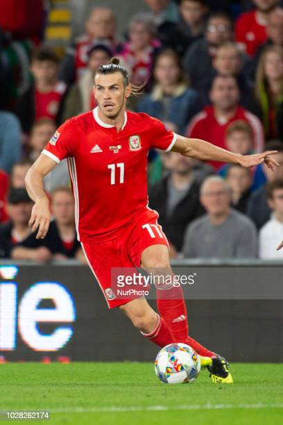 Gareth Bale of Wales controls the ball during the UEFA Nations League 2019 between Wales and Republic of Ireland at Cardiff City Stadium in Cardiff...
