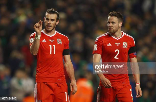 Gareth Bale of Wales discusses a missed chance with Chris Gunter of Wales after the FIFA 2018 World Cup Qualifier between Republic of Ireland and...