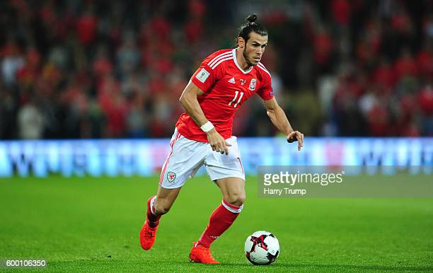 Gareth Bale of Wales during the 2018 FIFA World Cup Qualifier between Wales and Moldova at the Cardiff City Stadium on September 5 2016 in Cardiff...