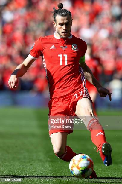 Gareth Bale of Wales during the 2020 UEFA European Championships qualifying group E match between Wales and Slovakia at Cardiff City Stadium on March...