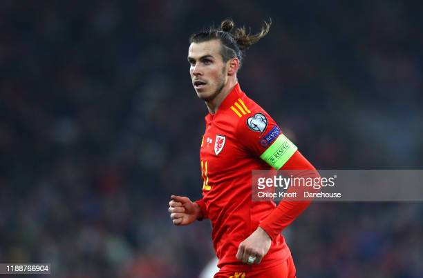 Gareth Bale of Wales during the UEFA Euro 2020 qualifier between Wales and Hungary so at Cardiff City Stadium on November 19, 2019 in Cardiff, Wales.