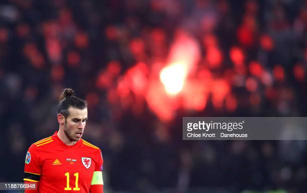 Gareth Bale of Wales during the UEFA Euro 2020 qualifier between Wales and Hungary so at Cardiff City Stadium on November 19 2019 in Cardiff Wales