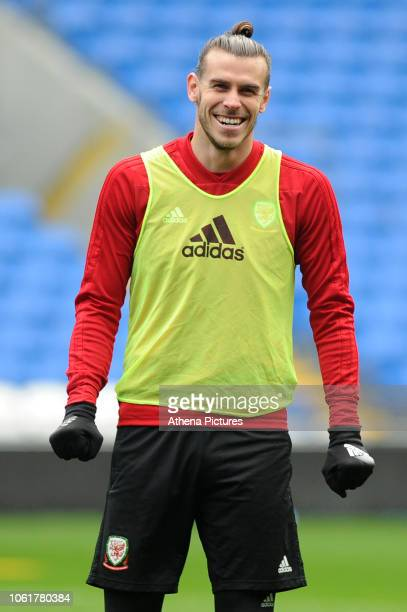 Gareth Bale of Wales during the Wales Training Session at the Cardiff City Stadium on November 15 2018 in Cardiff Wales