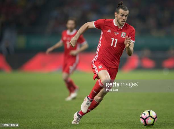 Gareth BALE of Wales in action during 2018 China Cup International Football Championship between Wales and Uruguay at Guangxi Sports Center on March...