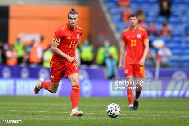 Gareth Bale of Wales in action during the International Friendly Match between Wales and Albania at the Cardiff City Stadium on June 5, 2021 in...