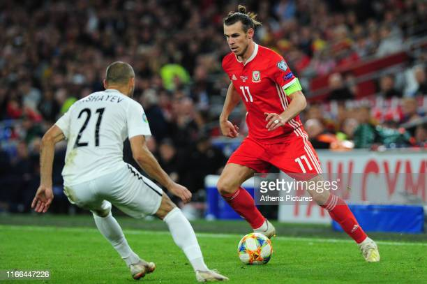 Gareth Bale of Wales in action during the UEFA Euro 2020 Qualifier match between Wales and Azerbaijan at the Cardiff City Stadium on September 06...