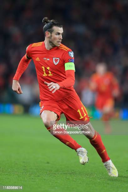 Gareth Bale of Wales in action during the UEFA Euro 2020 Qualifier between Wales and Hungary at Cardiff City Stadium on November 19, 2019 in Cardiff,...