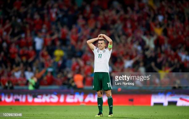 Gareth Bale of Wales looks dejected after the UEFA Nations League match between Denmark and Wales at Ceres Park on September 9 2018 in Aarhus Denmark