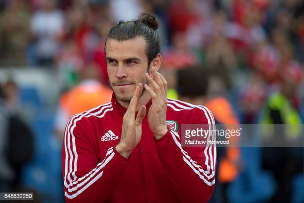 Gareth Bale of Wales looks on during a ceremony at the Cardiff City Stadium on July 8 2016 in Cardiff Wales The players toured the streets of Cardiff...