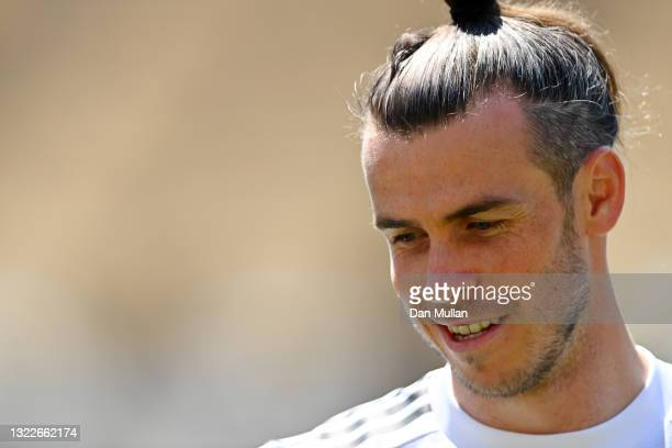 Gareth Bale of Wales looks on during a training session ahead of the UEFA Euro 2020 Championship at Tofiq Bahramov Stadium on June 09, 2021 in Baku,...