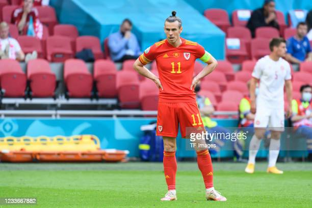 Gareth Bale of Wales looks on during the UEFA Euro 2020 Championship Round of 16 match between Wales and Denmark at Johan Cruijff Arena on June 26,...