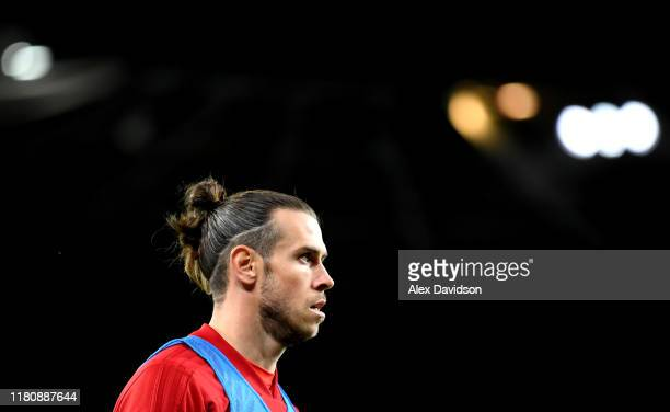 Gareth Bale of Wales looks on during the UEFA Euro 2020 qualifier between Wales and Croatia at Cardiff City Stadium on October 13 2019 in Cardiff...