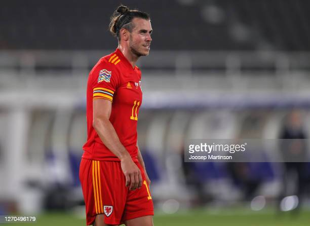 Gareth Bale of Wales looks on during the UEFA Nations League group stage match between Finland and Wales at Helsingin Olympiastadion on September 03...