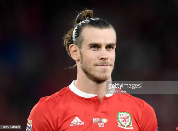 Gareth Bale of Wales looks on prior to the UEFA Nations League B group four match between Wales and Republic of Ireland at Cardiff City Stadium on...