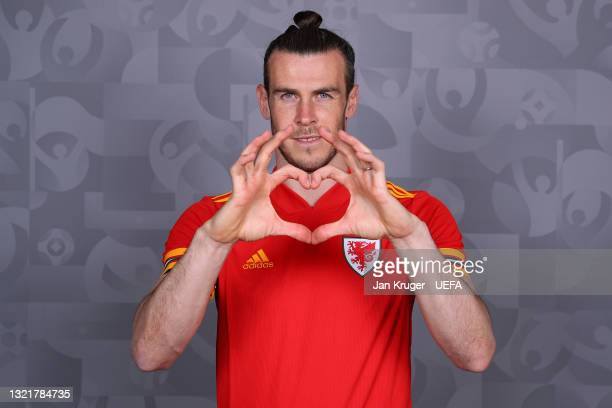 Gareth Bale of Wales poses during the official UEFA Euro 2020 media access day on June 03, 2021 in Vale of Glamorgan, Wales.
