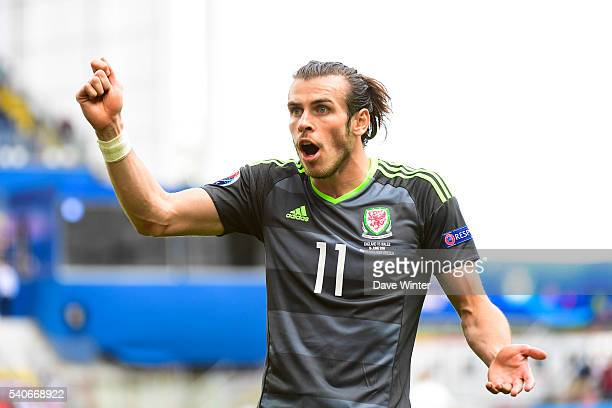 Gareth Bale of Wales protests that Jamie Vardy's goal was offside during the UEFA EURO 2016 Group B match between England and Wales on June 16 2016...