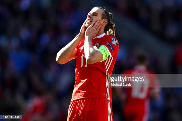 Gareth Bale of Wales reacts after missing a chance during the 2020 UEFA European Championships group E qualifying match between Wales and Slovakia at...