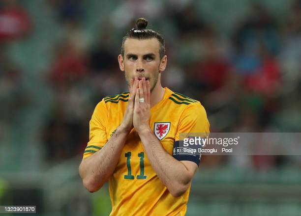 Gareth Bale of Wales reacts after missing a penalty during the UEFA Euro 2020 Championship Group A match between Turkey and Wales at Baku Olimpiya...